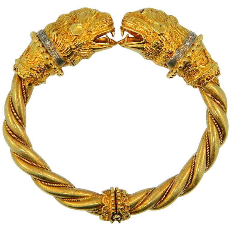 Ilias Lalaounis Diamond Ruby Platinum And Gold Lion