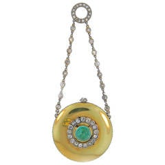 Cartier Platinum Yellow Gold Diamond Emerald Belle Epoque Watch Pendant