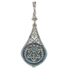 C.H. Meylan Sapphire Diamond Platinum Belle Epoque Watch Pendant