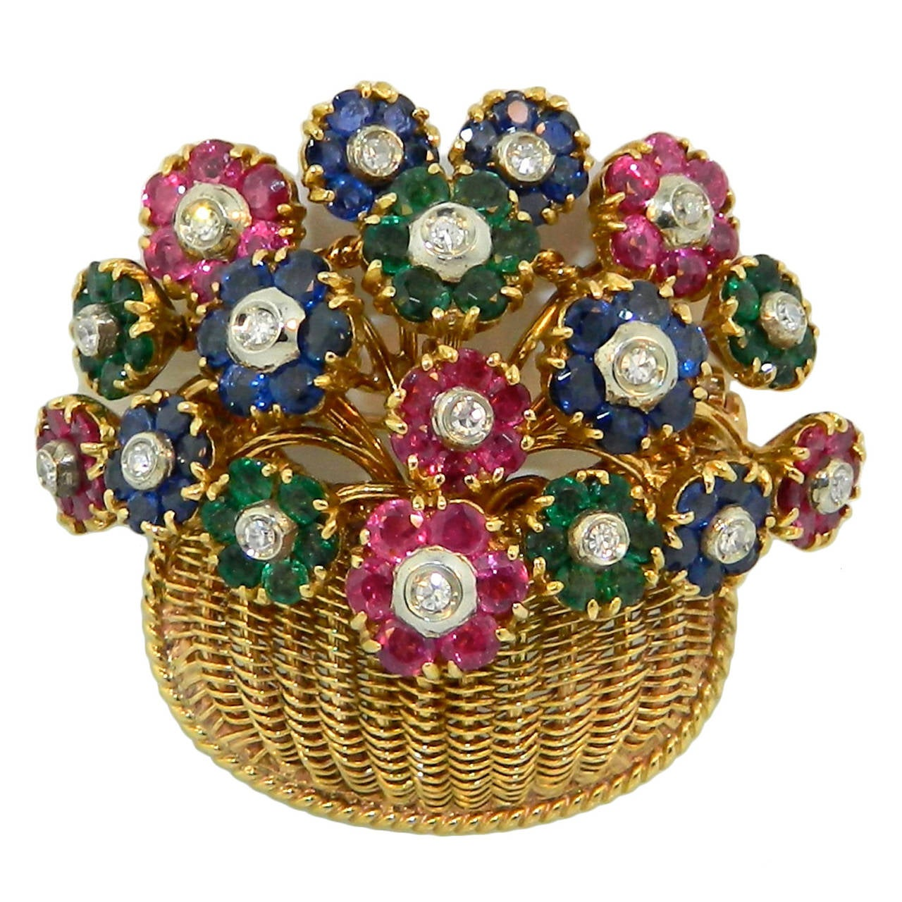 1950s Tiffany And Co Diamond Multi Gem And Gold Flower