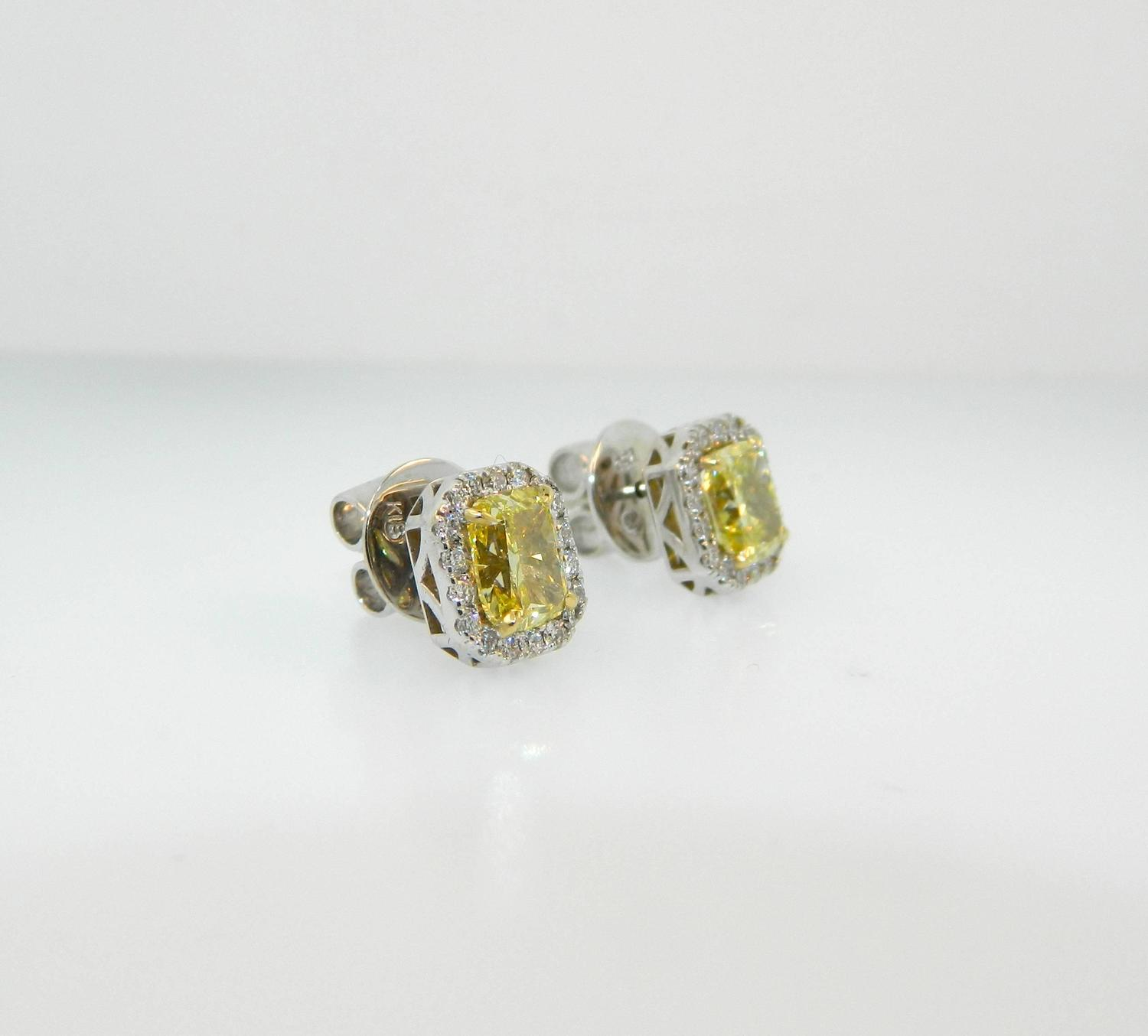 yellow diamond halo earrings - photo #2
