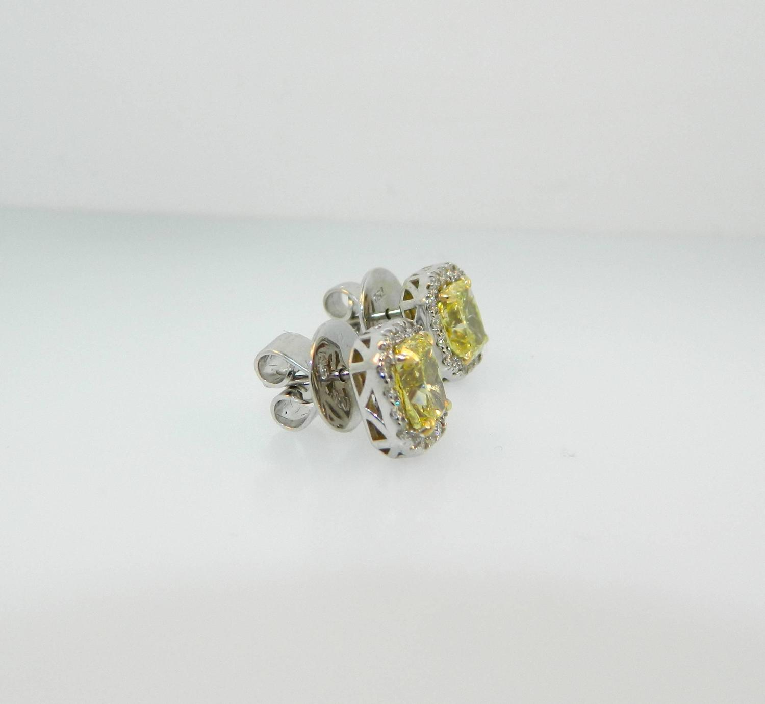 yellow diamond halo earrings - photo #6