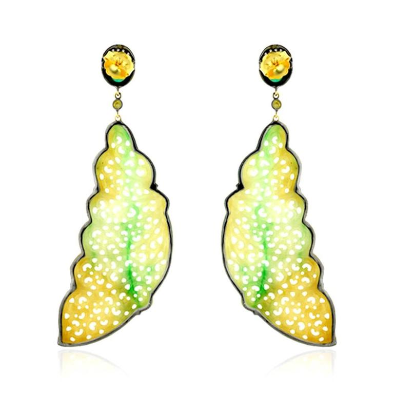 Jade Emerald Diamond Gold Feather Shape Earrings 4