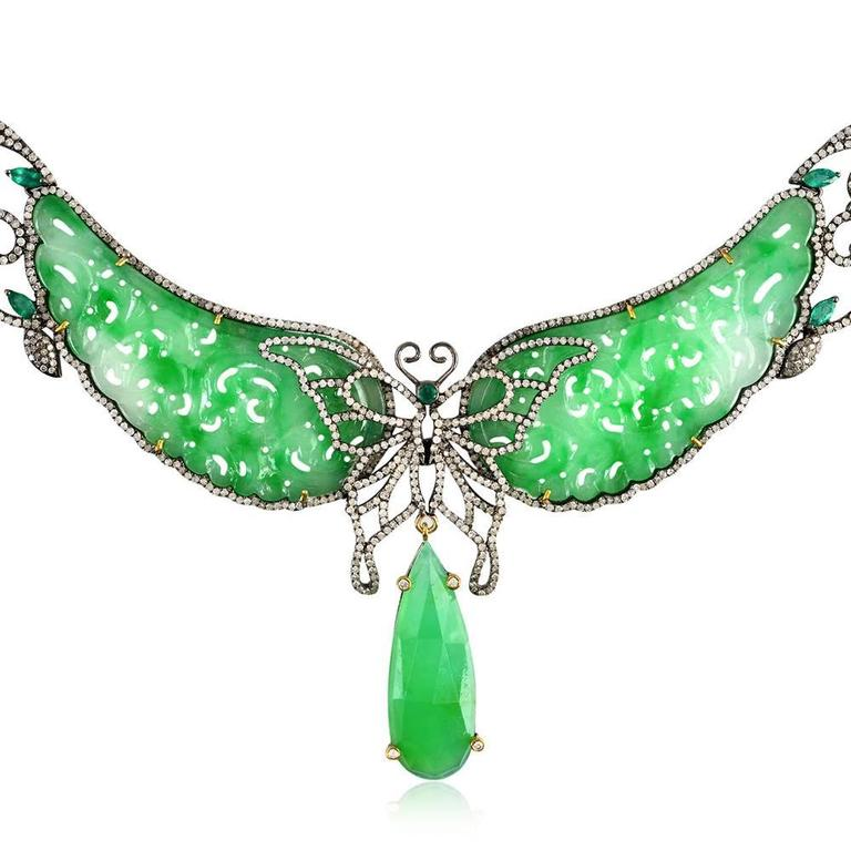 Jade Diamond Gold Butterfly Necklace  In As New Condition For Sale In New York, NY