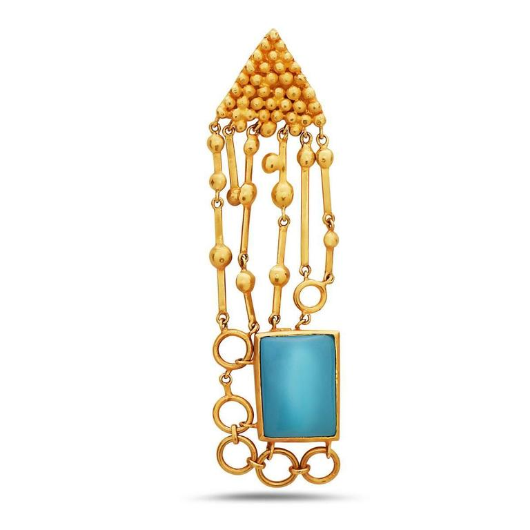 Contemporary Turquoise Gold Earring