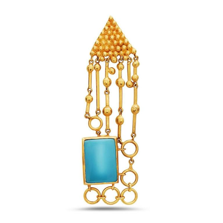 Turquoise Gold Earring In New Condition In New York, NY