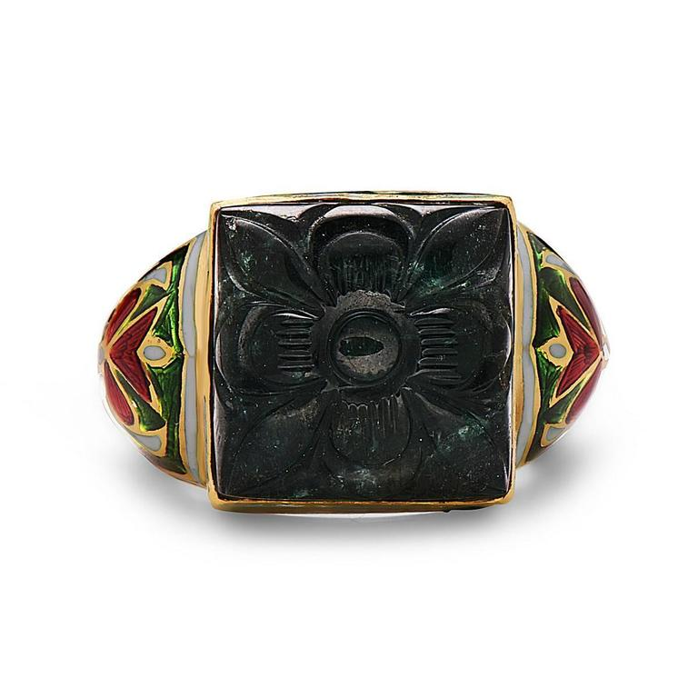 carved emerald and enamel ring for sale at 1stdibs