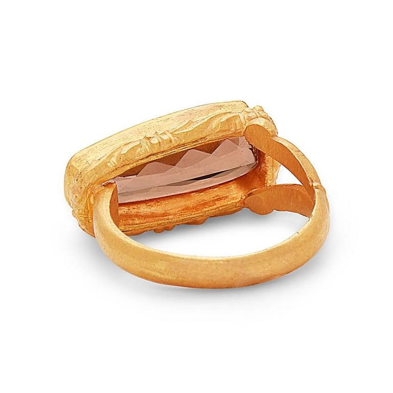Art Deco Peach Precious Topaz Ring in Gold For Sale