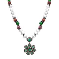 Emerald Diamond Pearl Necklace
