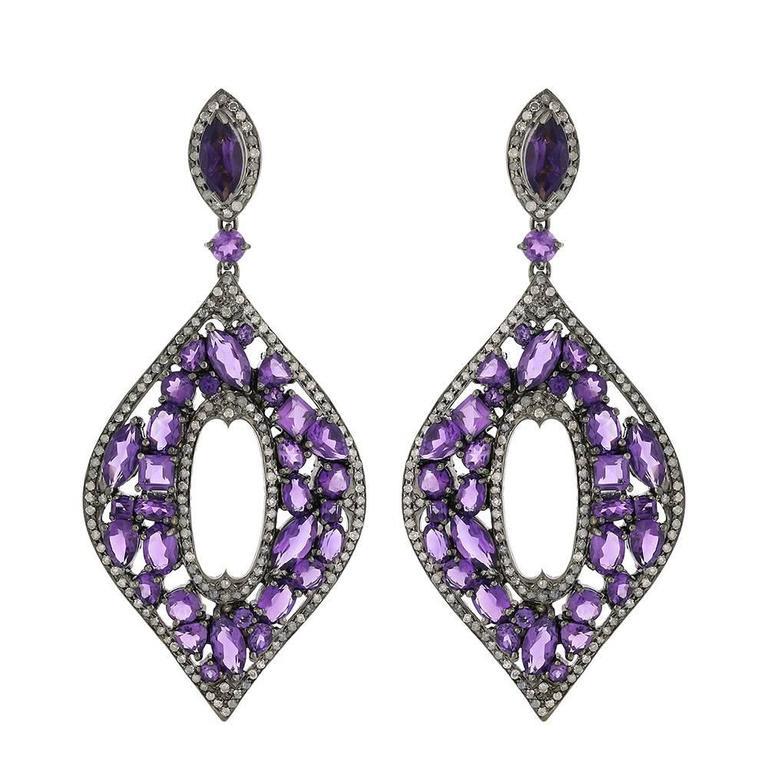 Mosaic Designed Amethyst Diamond Gold Earrings