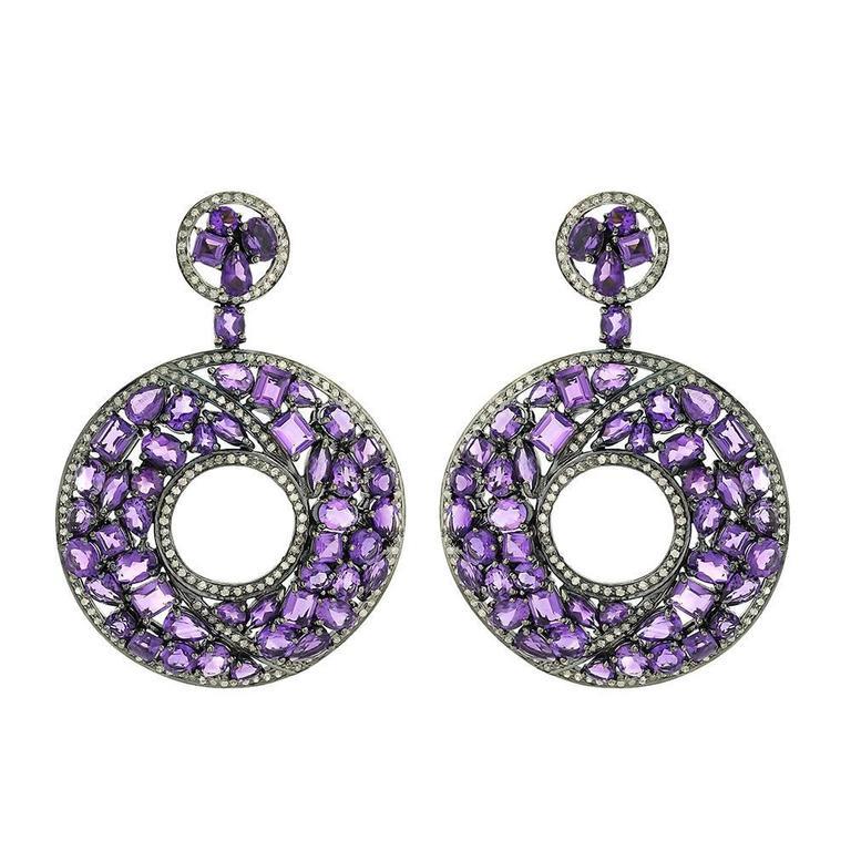 Amethyst Diamond Silver Gold Earrings 1