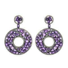 Amethyst Diamond Silver Gold Earrings