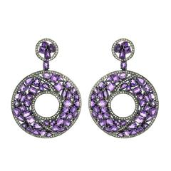 Amethyst Diamond Silver Gold Earrings