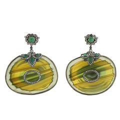 Emerald Diamond Jasper Earrings