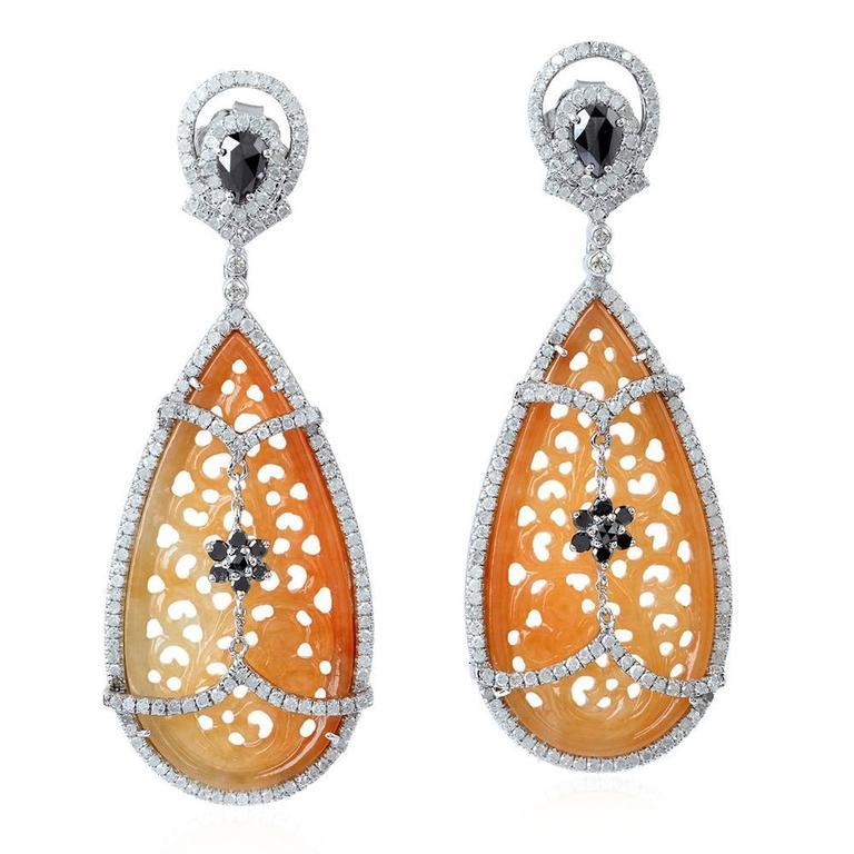 Brown Carved Jade Diamond Gold Earrings