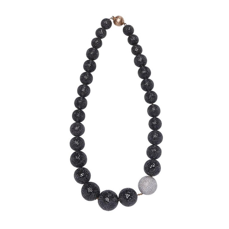 Black and White Diamond Ball Necklace in Gold