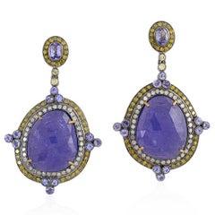 Tanzanite Earrings with White and Yellow Diamonds