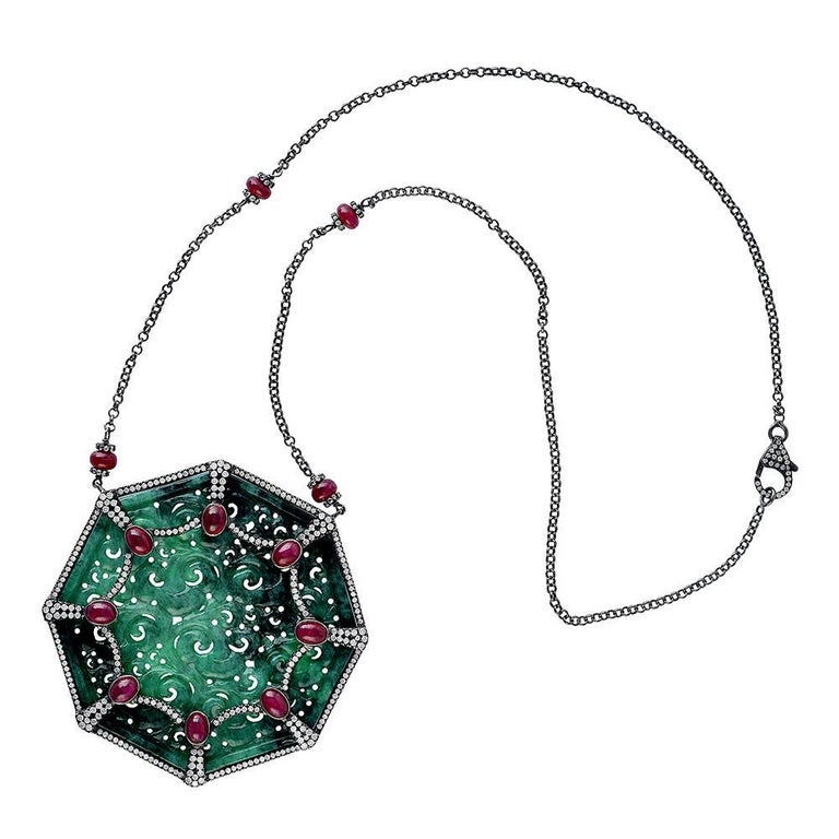 Carved Jade Necklace with Diamonds and Ruby