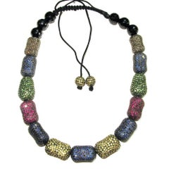 Multi Color Sapphire, Tsavorite, Ruby Macrame Choker