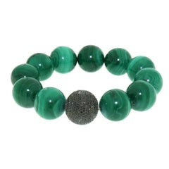 Black Diamond Bead and Malachite Stretchable Bracelet