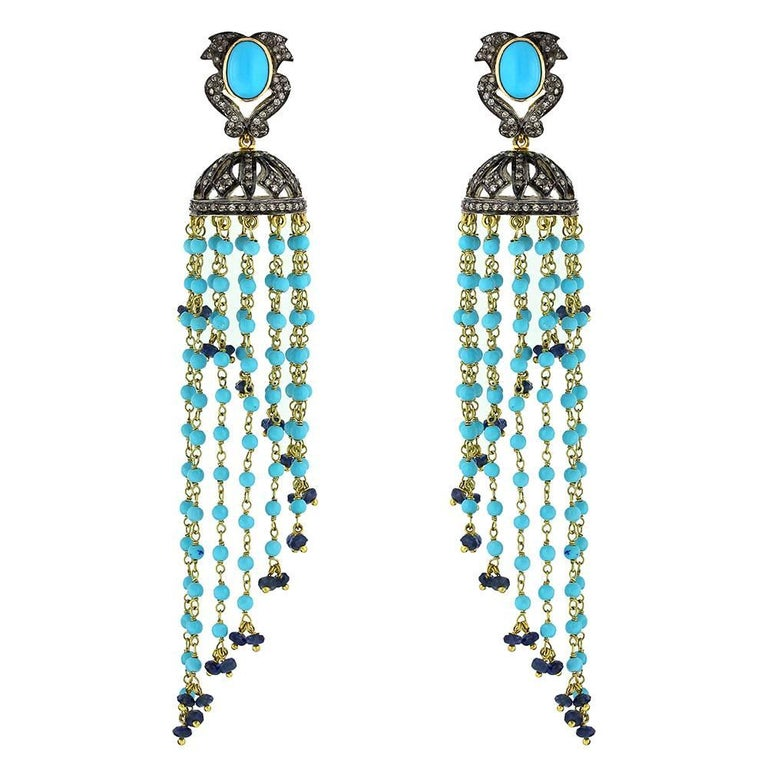 Diamond and Turquoise Tassel Earrings