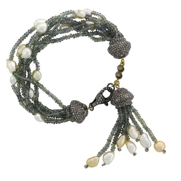 Lovely Sapphire and Pearl Beaded Bracelet