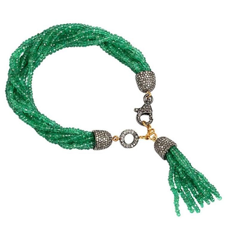 Emerald and Diamond Tassel Bracelet