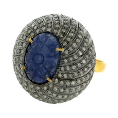 Carved Sapphire Ring with Diamonds Around in Dome Shape