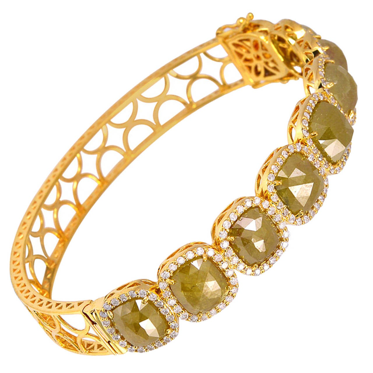 Yellow Ice and Pave Diamond Gold Openable Bangle Bracelet