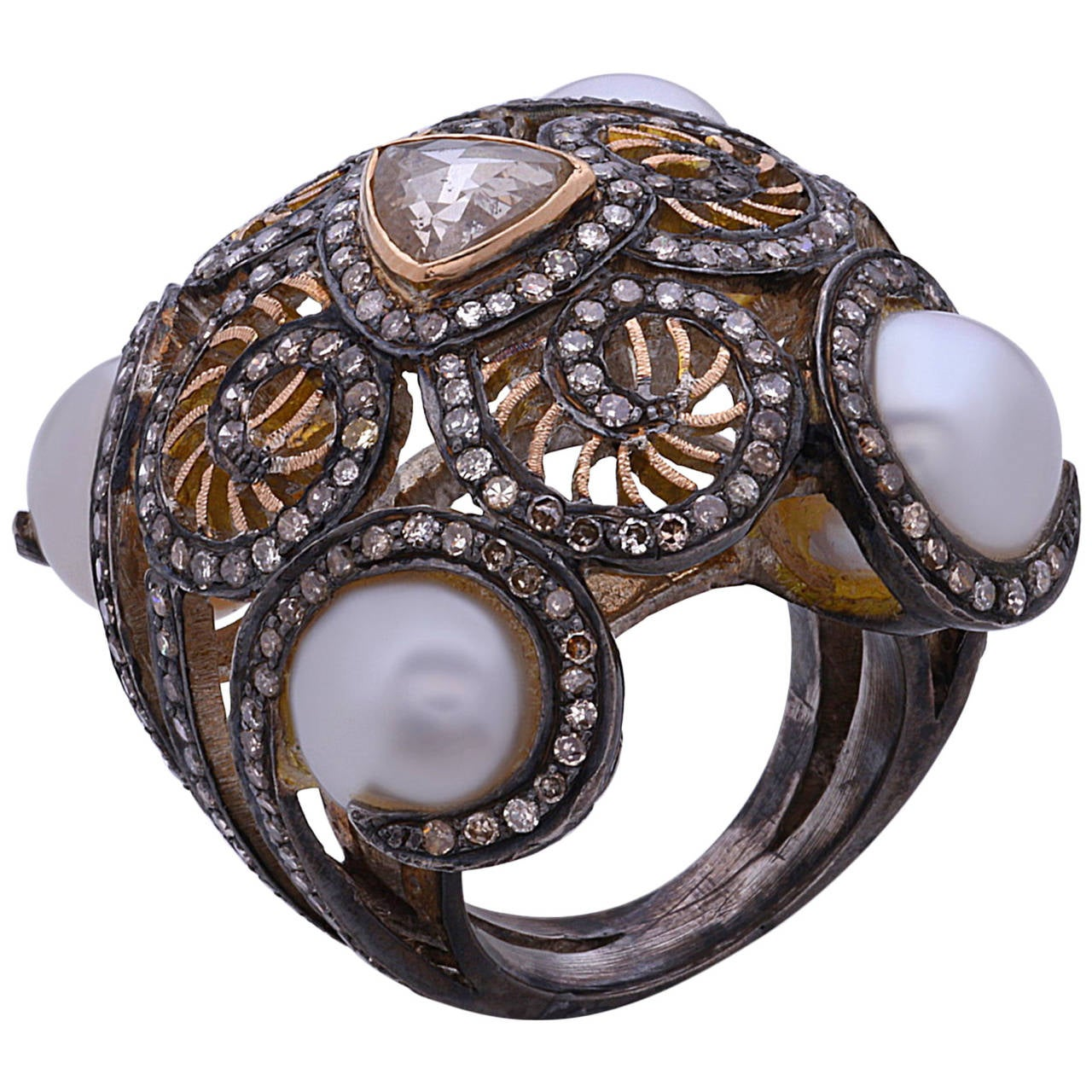 Diamond Pearl Silver Gold Dome Ring