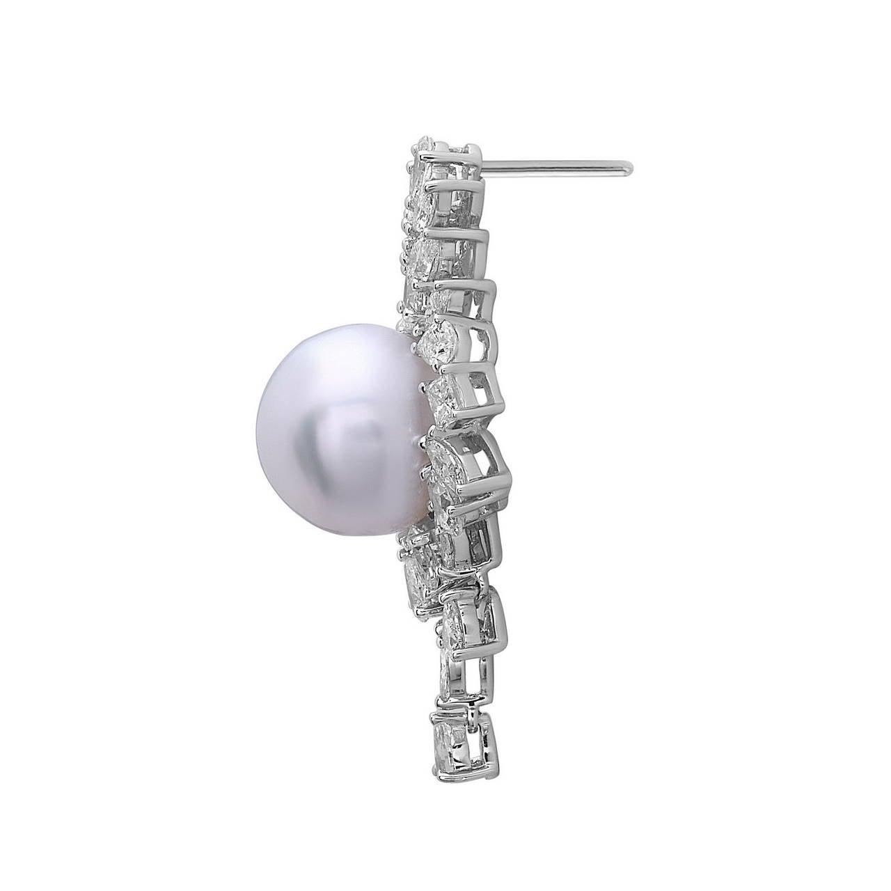 Women's South Sea Pearl Diamond Gold Dangle Earrings For Sale
