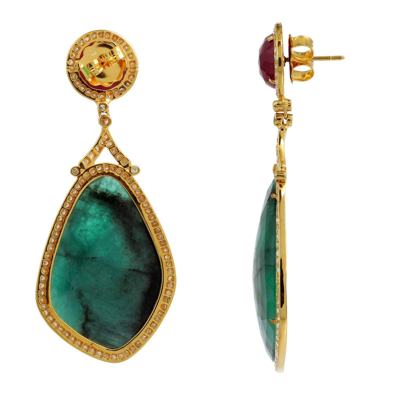 Elegant Ruby Emerald Quartz Diamond Gold Dangle Earrings ...