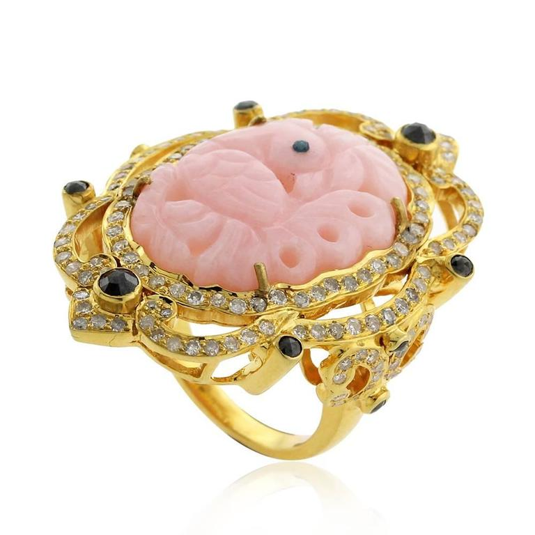 pretty pink opal peacock gold carved ring at 1stdibs