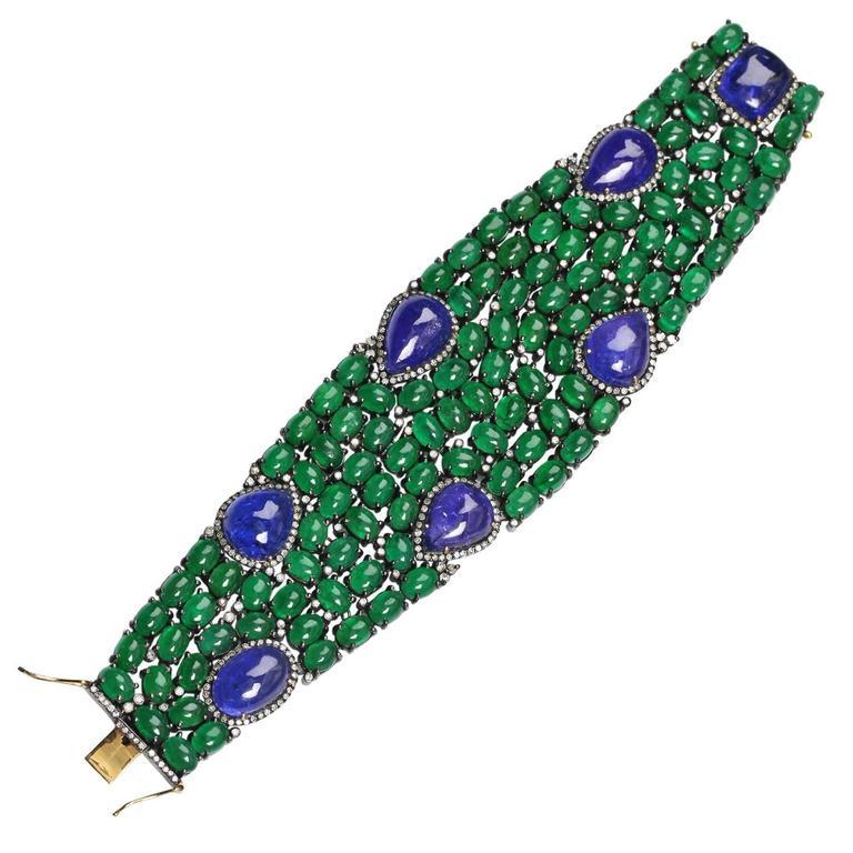 Tanzanite Emerald Diamond Silver Gold Bracelet 4