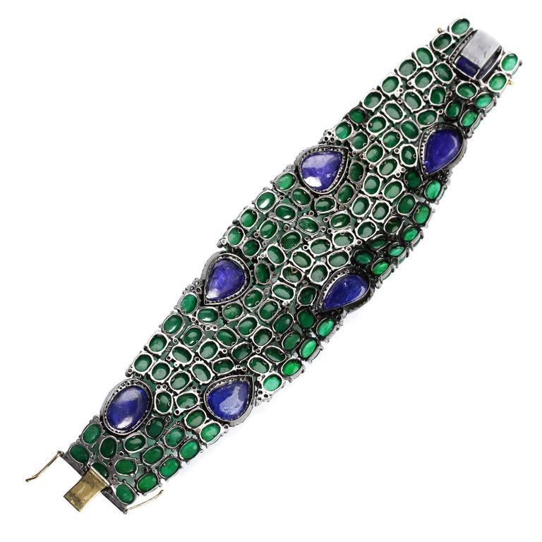 Tanzanite Emerald Diamond Silver Gold Bracelet 5