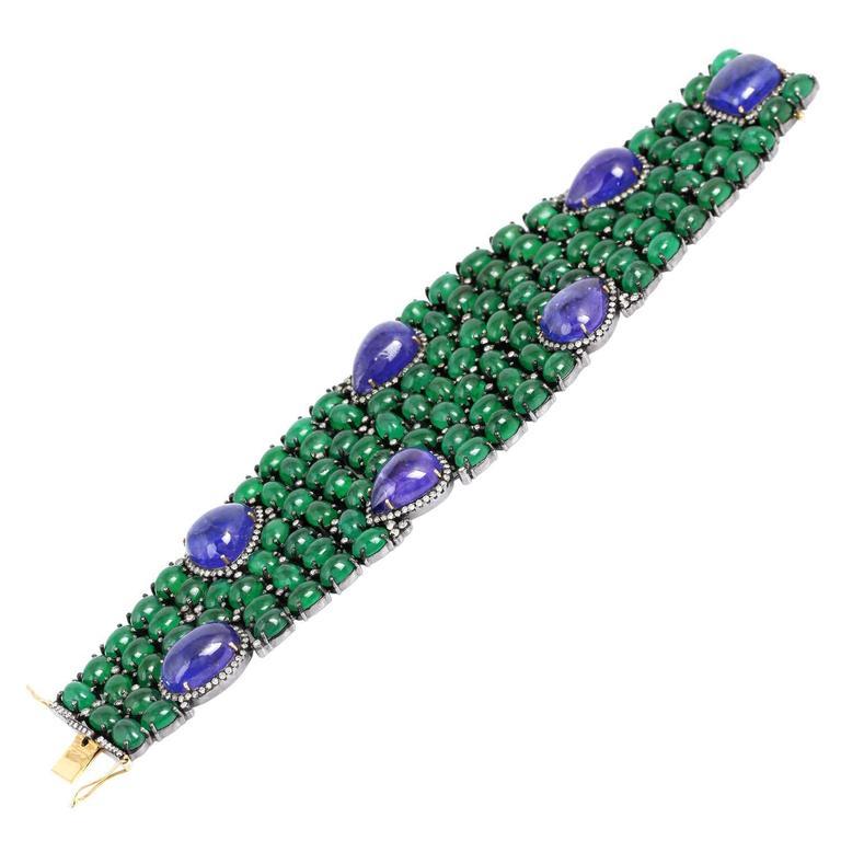 Tanzanite Emerald Diamond Silver Gold Bracelet 3