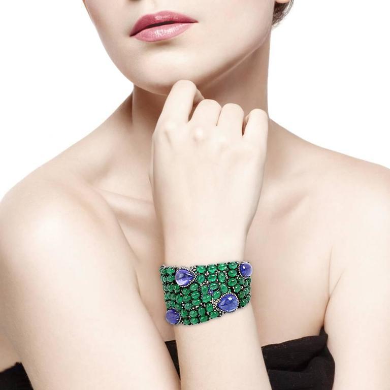 Tanzanite Emerald Diamond Silver Gold Bracelet 2