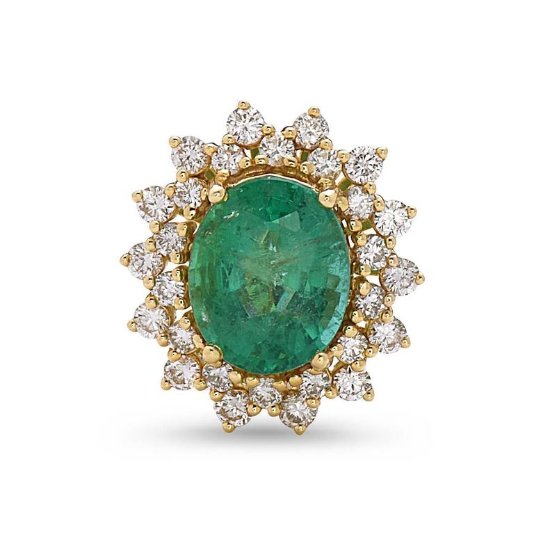 Oval Emerald Round Diamond Gold Stud Earrings For Sale at 1stdibs
