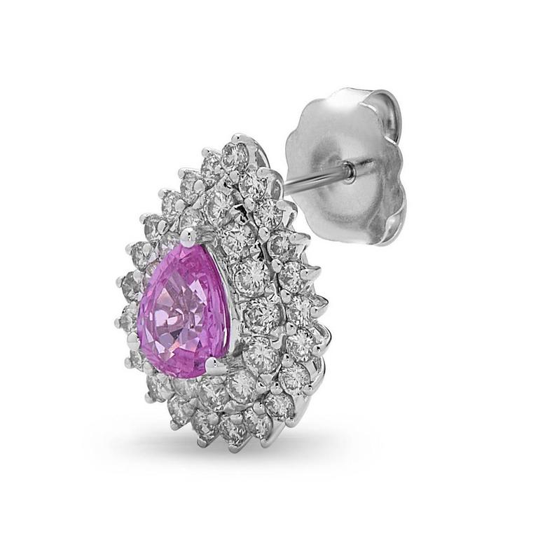 Exquisite Pink Sapphire Diamond Gold Stud Earrings 4