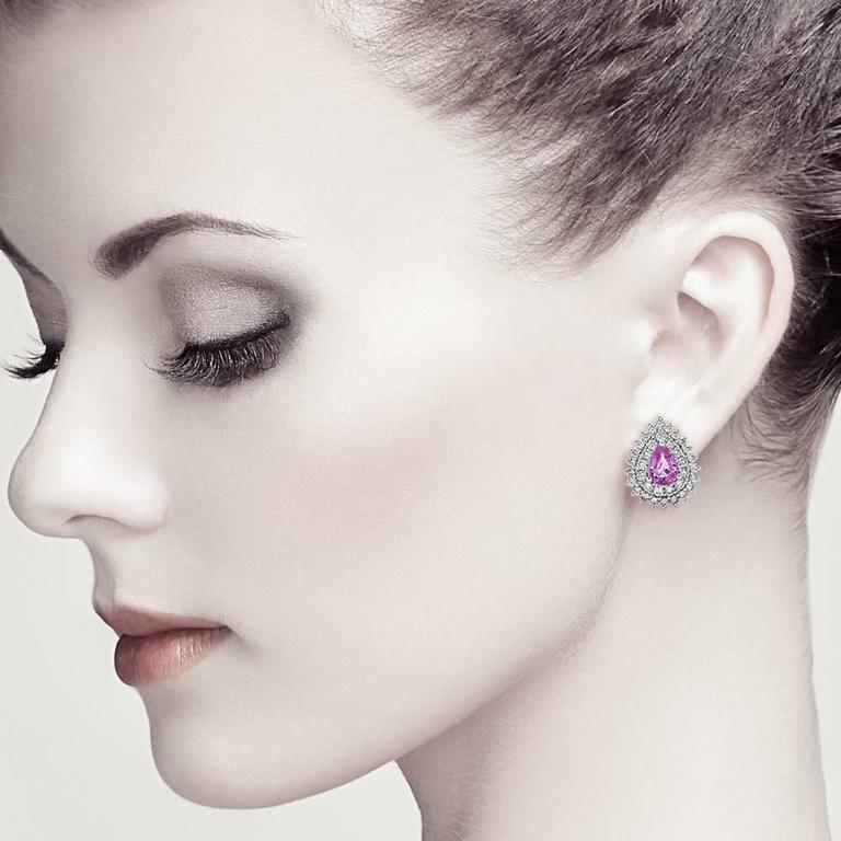 Exquisite Pink Sapphire Diamond Gold Stud Earrings 2