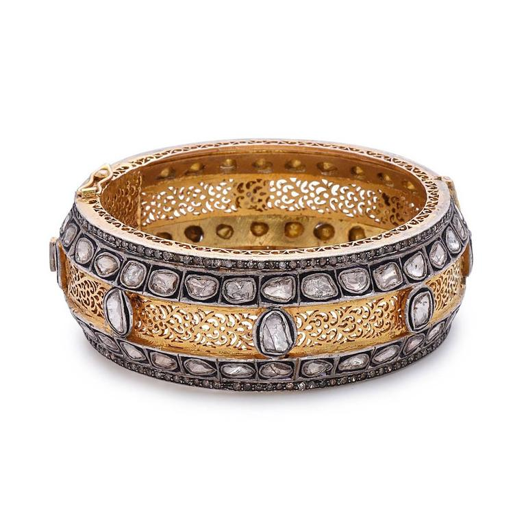 Stunning Victorian Bangle with Rose Cut Diamonds in Gold and Silver 3