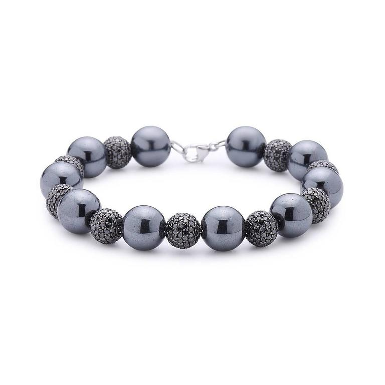 Modern Hematite Black Diamond Ball Tennis Bracelet For Sale