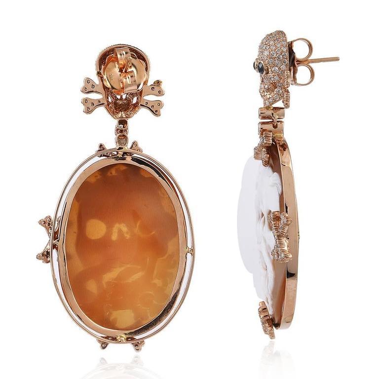 Skull Cameo Diamond Gold Earrings  2