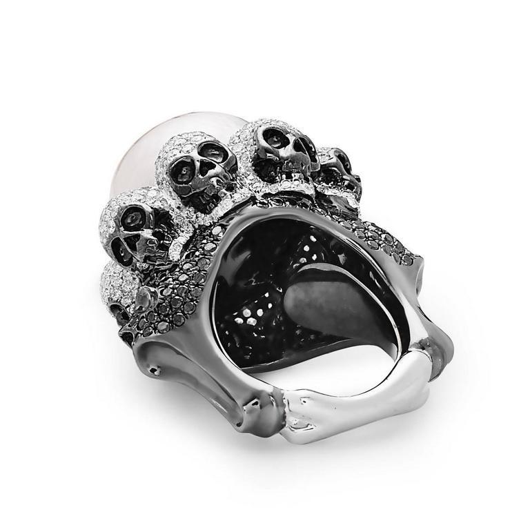 Modernist Pearl Diamond Gold Skull Ring  For Sale