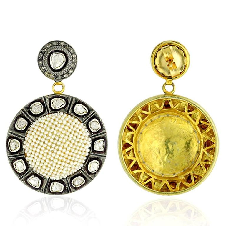 Victorian Diamond and Seed Pearl Earring For Sale