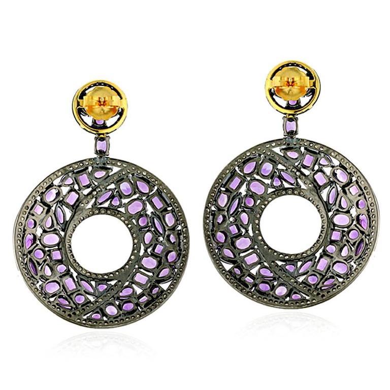 Amethyst Diamond Silver Gold Earrings 2