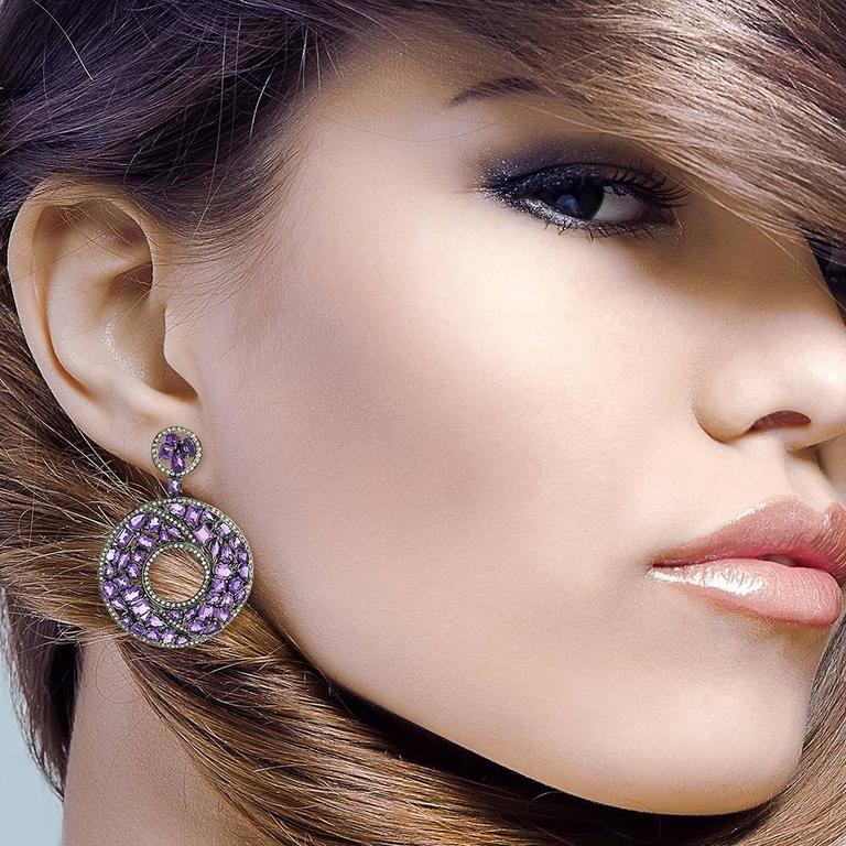Amethyst Diamond Silver Gold Earrings 3