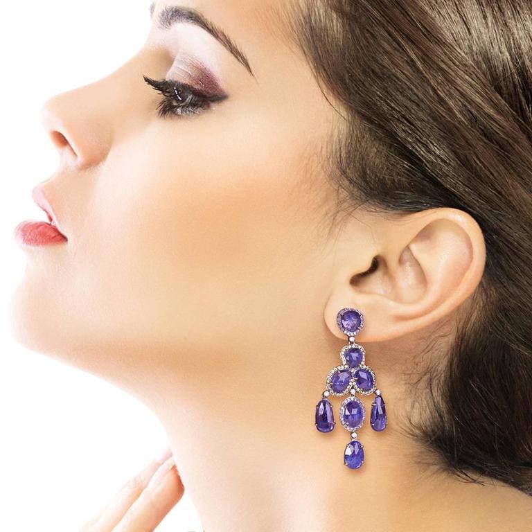 Tanzanite Diamond Chandelier Earring 3