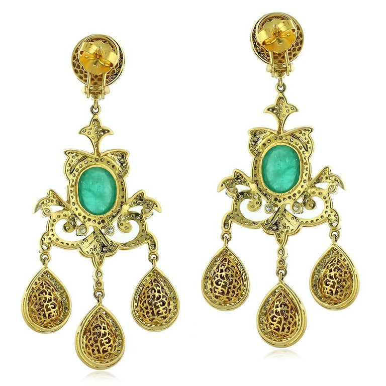 Indian Emerald Diamond Chandelier Earrings For Sale at 1stdibs