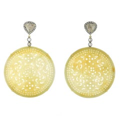 Round Carved Jade Earring with Diamonds